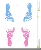 Pink And Blue Footprints Clipart Image