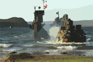 French Marine Vab Takes The Beach During A Non-combatant Evacuation Operation (neo) Exercise Clip Art