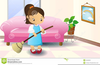 Girl Sweeping Clipart Image
