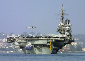 Uss Constellation (cv 64) Heads Down San Diego Bay Image