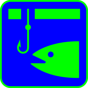 Ice Fishing (blue With Green Fish) Clip Art