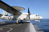 A E-2c Launches From One Of Four Steam-powered Catapults On The Ship S Flight Deck Image