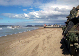 Landing Craft Air Cushions (lcacs) From Assault Craft Unit Four (acu-4) Arrive On A Beach In Northern Albania. Image