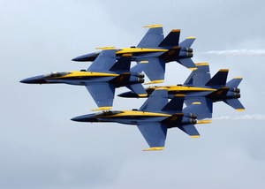 F/a-18 Hornets Assigned To The U.s. Navy Blue Angels Flight Demonstration Team , Perform At The 2002 N Image