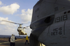 Ch-46 Sea Knight Helicopter As It Takes Off From The Main Deck Of The Amphibious Command Ship Uss Mount Whitney. Image