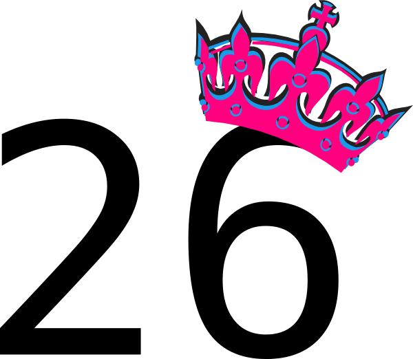 pink tilted tiara and number 26 clip art at clker com vector clip