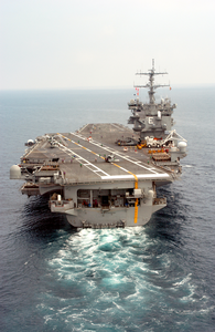 The Nuclear Powered Aircraft Carrier Uss Enterprise (cvn 65) Steams Along In The Atlantic Ocean During The Final Stages Of An Ordnance On-load. Image
