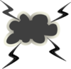 Angry Cloud With Lightening Bolts Clip Art