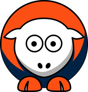 Sheep 3 Toned Denver Broncos Team Colors Clip Art