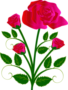 Pink Rose With Buds Clip Art