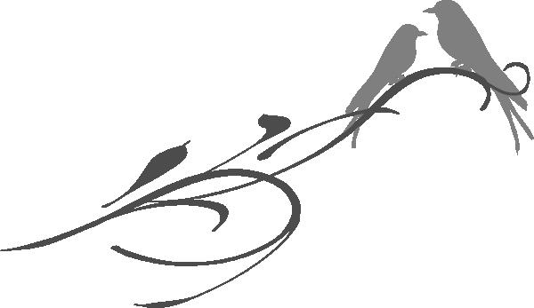 Love Birds On A Branch Grey Clip Art at Clker.com - vector clip ...