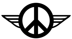 Retro Peace Symbol With Wings Outline Clip Art