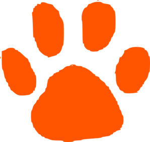 Dark Orange Paw Print Clip Art