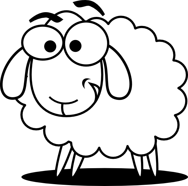 Funny Sheep Outline Clip Art