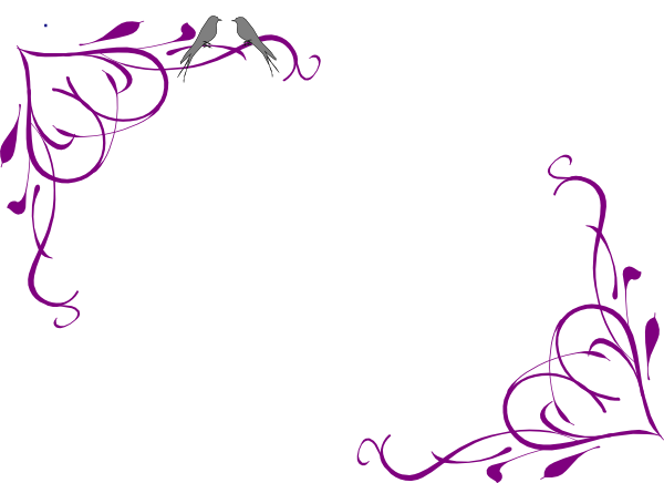 Love Birds Grey Corner Frame Purple clip art