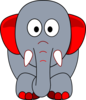 Grey Elephant With Red Accents Clip Art