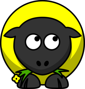 Yellow Sheep Looking Right-down Clip Art