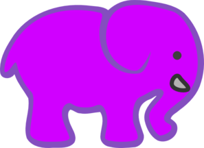 Invert Purple Pink Elephant Clip Art