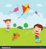 Children Flying Kite Clipart Image