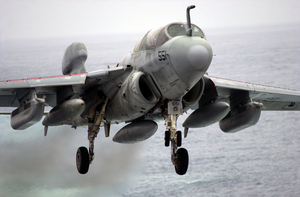 An Ea-6b Prowler Approaches The Flight Deck Image