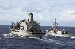 Usns Pecos (t-ao 197) Provides Fuel And Supplies To The Uss Thach (ffg-43) Image