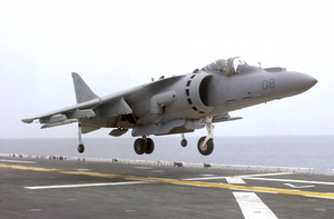 Av-8b Ii Jet Lands On Flight Deck. Image