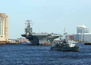 Uss George Washington (cvn 73) Passes By Downtown Norfolk During Her Transit Down The Elizabeth River. Image