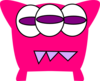 Pink 3 Tooth Monster Clip Art