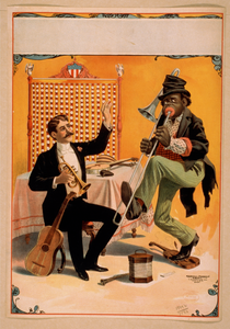 [man Seated Holding Horn With Arm Raised And African American Playing Trombone] Image