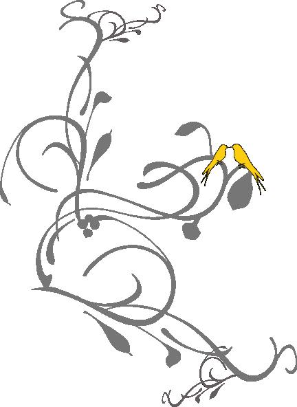 Birds On A Branch Yellow Clip Art At Clker Com