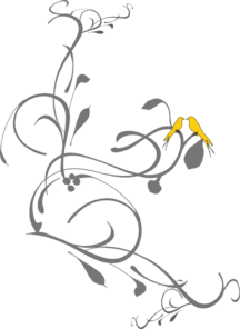 Birds On A Branch Yellow Clip Art