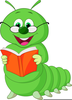 Reading Bookworm Clipart Image
