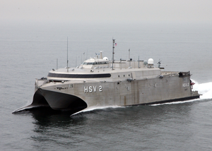 High Speed Vessel Two (hsv-2) Swift Glides Through The Waters Of The Atlantic Ocean. Image