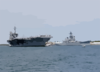 Uss Constellation (cv 64) Sails Past Uss Missouri (bb 63) As It Makes A Week-long Port Visit To Pearl Harbor, Hawaii, On Her Way Home To San Diego, Calif Clip Art