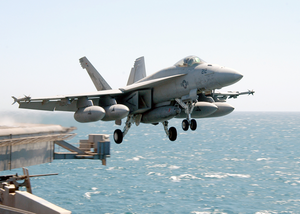 An F/a-18e Super Hornet Assigned To Strike Fighter Squadron One One Five (vfa-115) Launches From One Of Four Steam-powered Catapults Aboard Uss Abraham Lincoln (cvn 72). Image