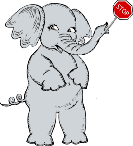 Elephant Holding Stop Sign Clip Art