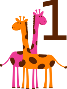 First Birthday Giraffes Clip Art