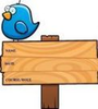 Chubby Blue Bird Standing Atop A Wooden Sign Image