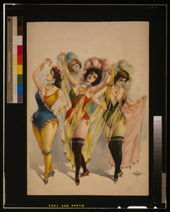 [women Wearing Brief Costumes, Holding Veils, With Feathers In Her Hair] Image