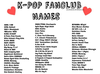 Fandoms List Kpop Image
