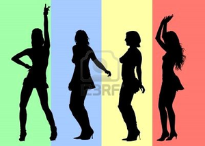 Vector Drawing Silhouettes Of Dancing Girls In A Nightclub Image