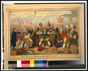 State Physicians Bleeding John Bull To Death!!  / G. Cruikshank Fect. ; Invd. By Yedis. Image