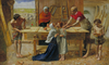 Joseph And Jesus Learning Carpenter Or Carpenter Tools Clipart Image