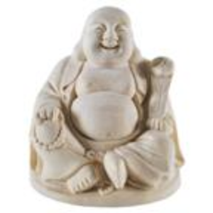 Statue Wood Carving Happy Buddha Small Image