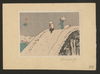 Two People Crossing A Steep Snow-covered Bridge Image