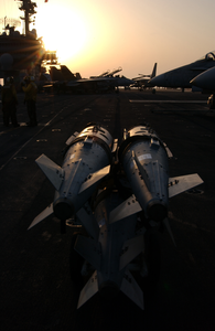Two Gbu-31 Joint Defense Attack Munitions (jdam) Are Positioned On The Flight Deck Image