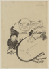 [hotei, The God Of Good Fortune, One Of The Seven Lucky Gods, Seated, Facing Front, Next To His Bottomless Bag Of Goods On Which A Small Child Is Sitting And Who Appears To Be Cleaning Hotei S Left Ear] Image