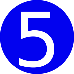 blue roundedwith number 5 clip art