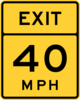 Exit 40 Mph Road Sign Clip Art