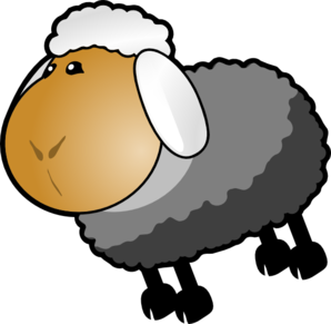 Sheep Dark Grey Yellow Clip Art